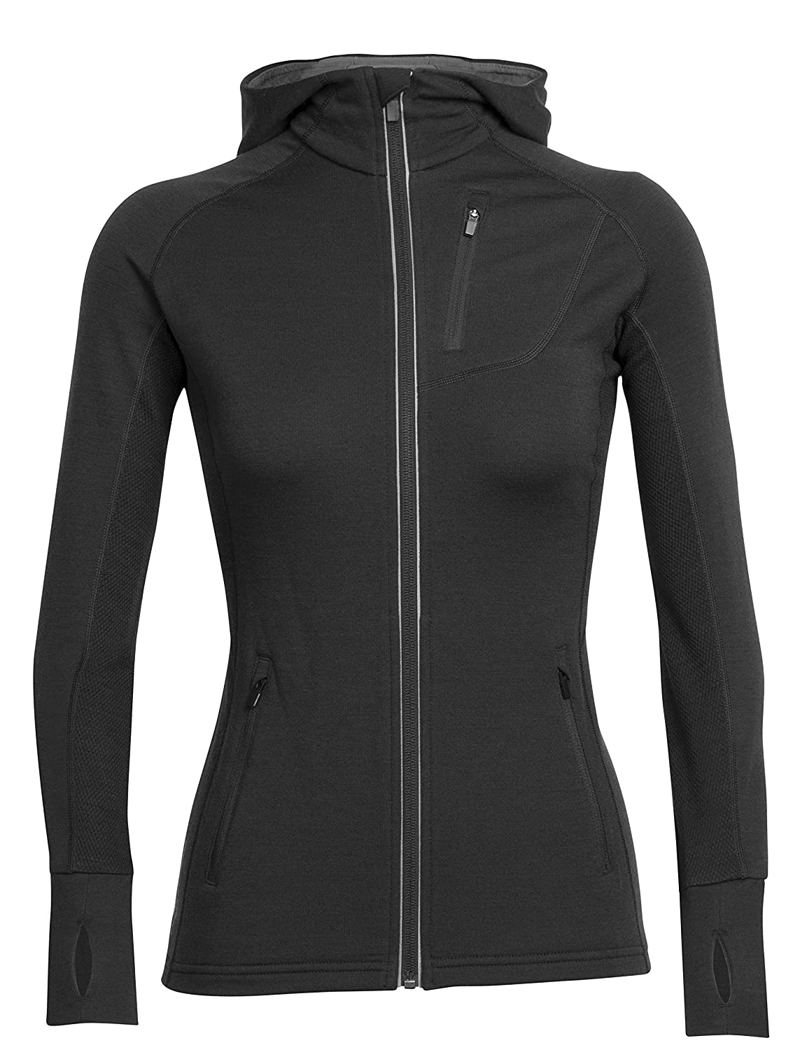 Black Black Black Icebreaker Women's Quantum Long Sleeve Zip Hooded Top