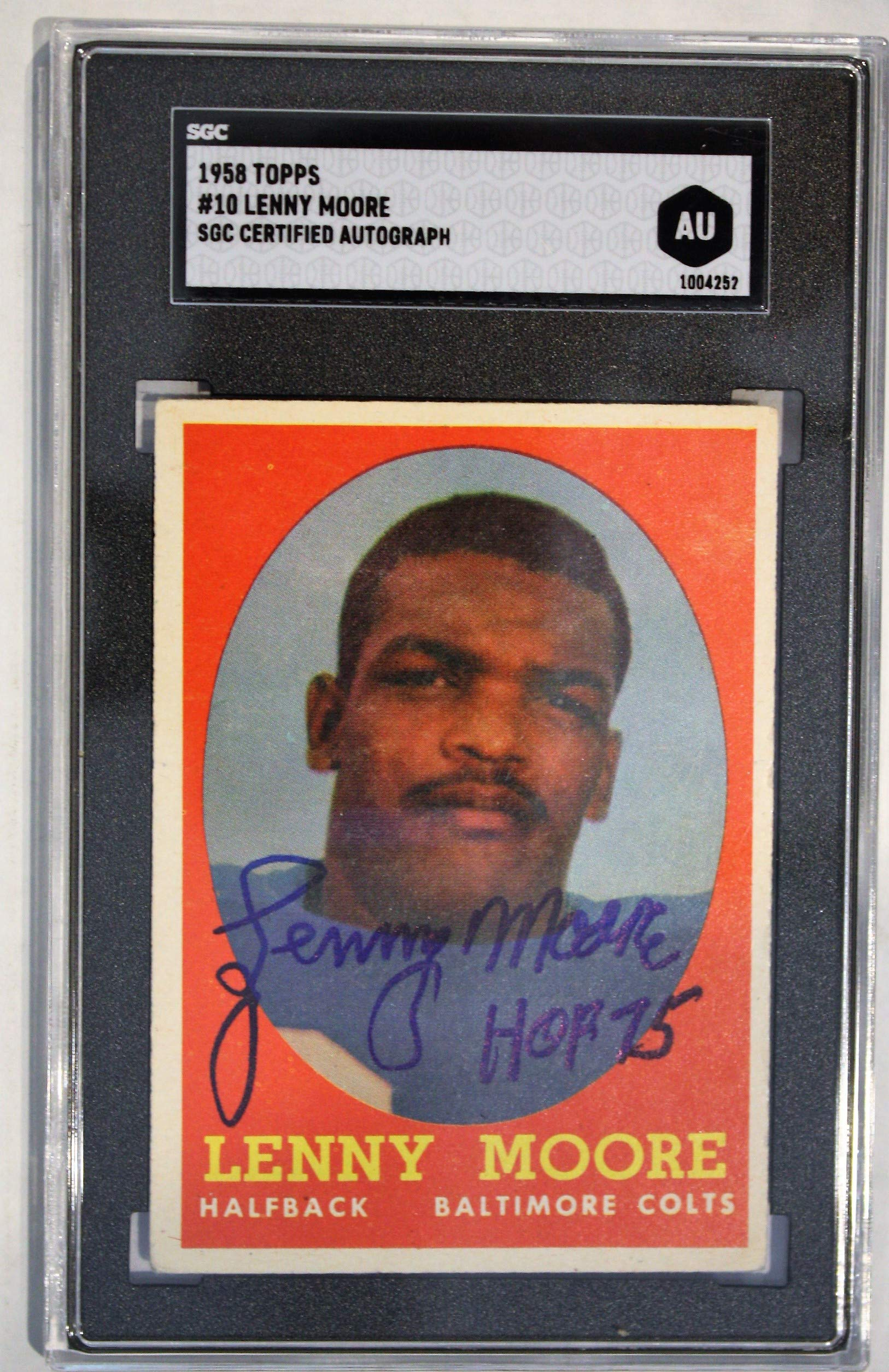 Autographed Lenny Moore Baltimore Colts 1958 Topps Card, 10 SGC Slabbed