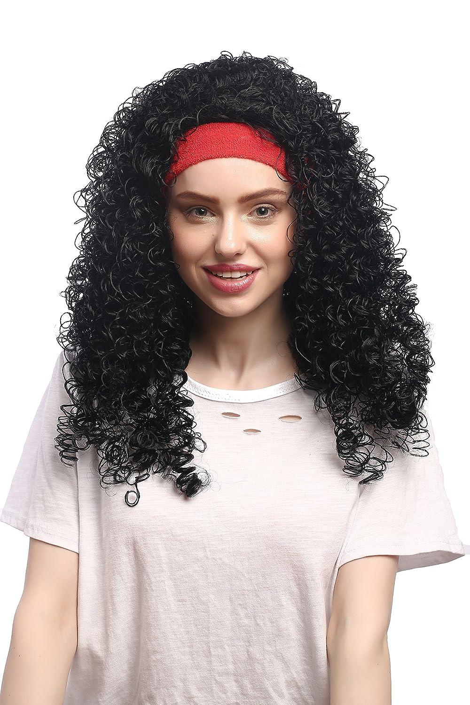 WIG ME UP ® - 91259-ZA103 Peluca señoras Carnaval, Venda roja, Negro rizada Bailarina Caribe Latina: Amazon.es: Juguetes y juegos