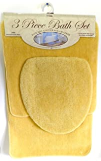 3 Piece Bath Rug Set Mustard Yellow Bathroom Mat Contour Rug Lid Cover Non  Slip Latex