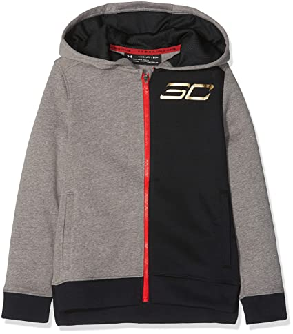Under Armour Sc30 MVP - Sudadera con Capucha y Cremallera, Infantil, Color Charcoal Light