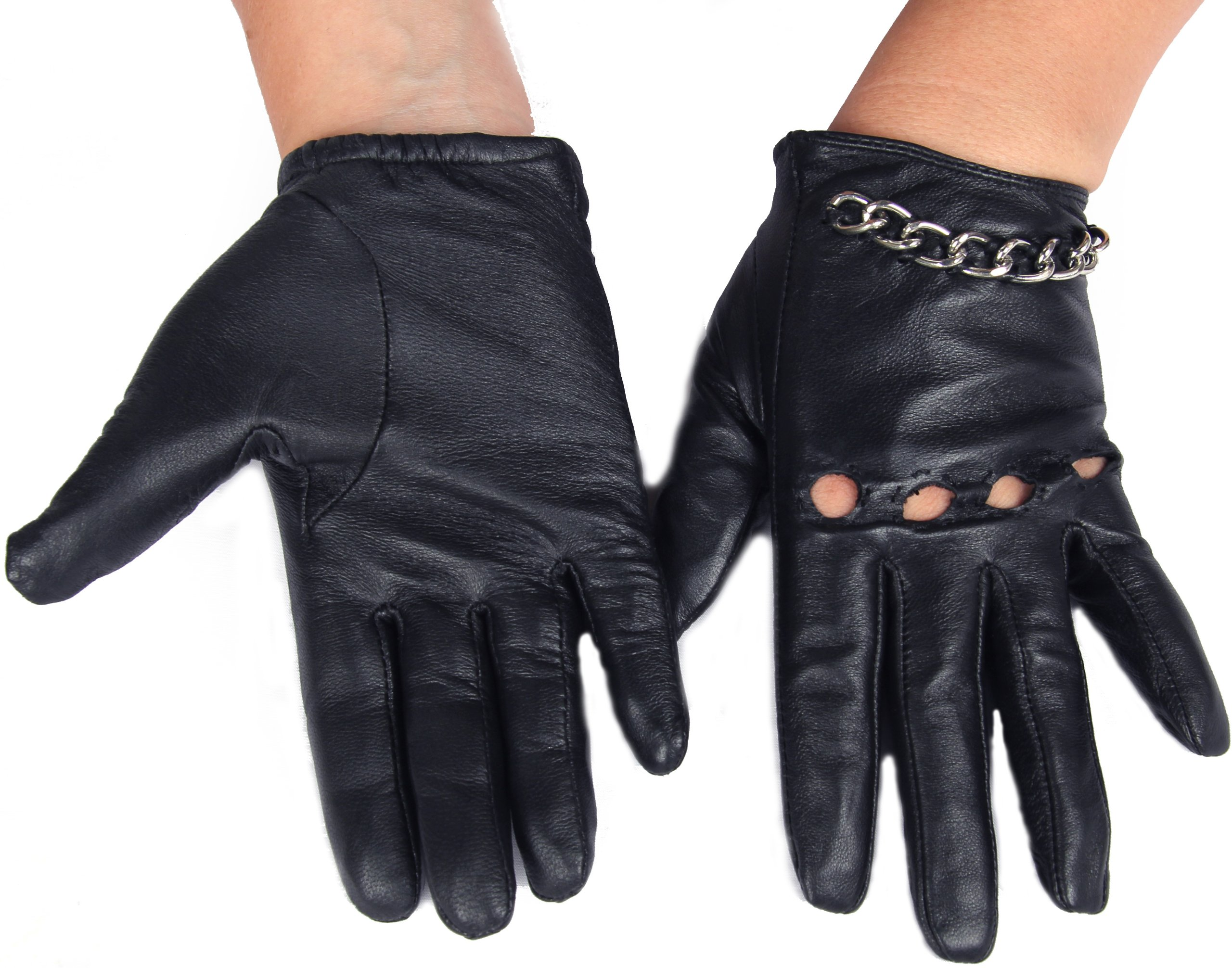 Calonice Amorino Women's Short Leather Driving Gloves silver metal chain M by Calonice Amorino (Image #3)