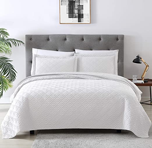 Twin XL Full Queen King Size Solid White 3 pc Quilt Set Coverlet Bedding Elegant