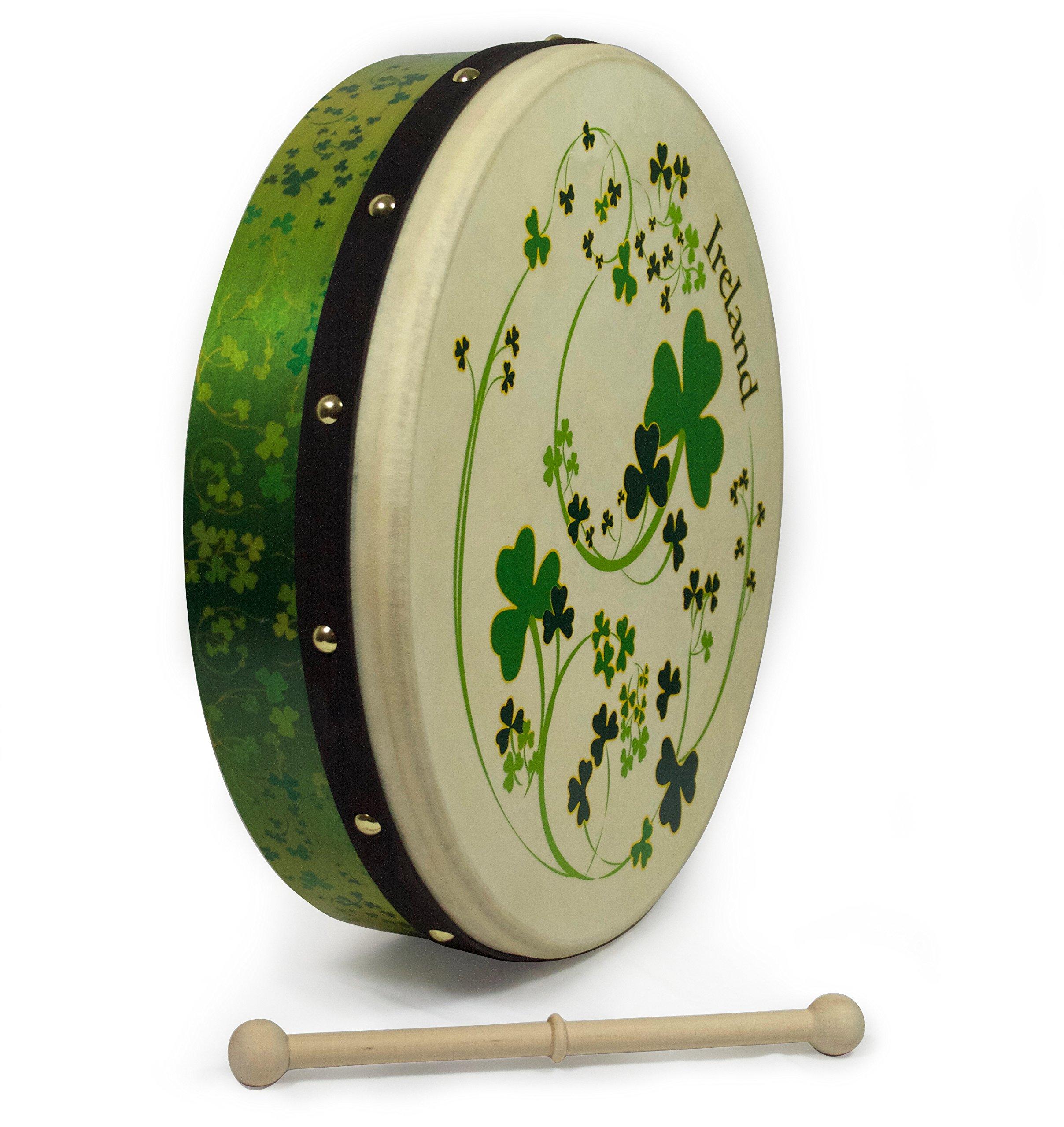 Waltons 15 Inch All Shamrocks Bodhrán - Handcrafted Irish Instrument - Crisp & Musical Tone - Hardwood Beater Included w/Purchase