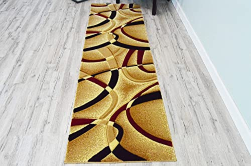 PlanetRugs Premium 3D Effect Hand Carved Thick Modern Contemporary Abstract Area Rug 2305 Burgundy Beige 2 2 x7 4 Runner