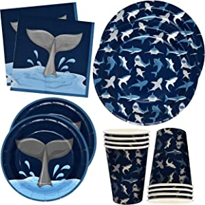 """Gift Boutique Shark Birthday Party Supplies Set 24 9"""" Plates 24 7"""" Plates 24 9 Oz Cups 50 Luncheon Napkins Shark Theme Decorations Paper Goods Pack for Kids Tableware Design Sharks Fish Jaws and Fins"""