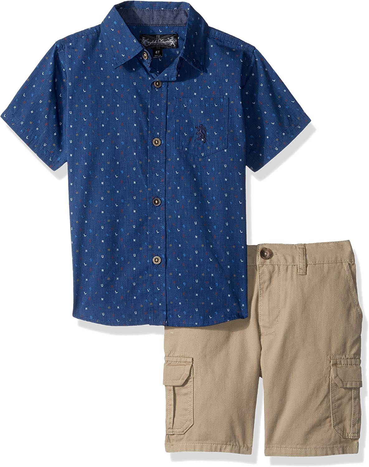 English Laundry Boys' Letter Print Woven Sport Shirt with Twill Cargo Short