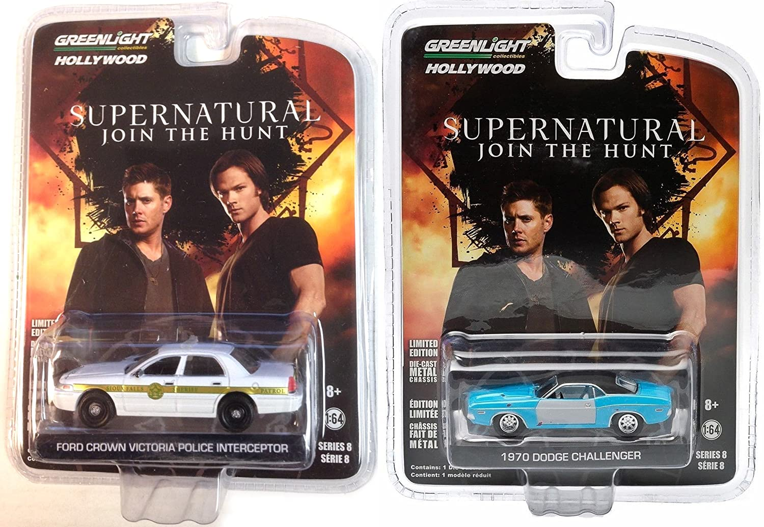 Supernatural Series 8 Tv Show 2 Car Set 1970 Dodge Ford Police Challenger Crown Vic Greenlight Hollywood Entertainment 164 Toys Games