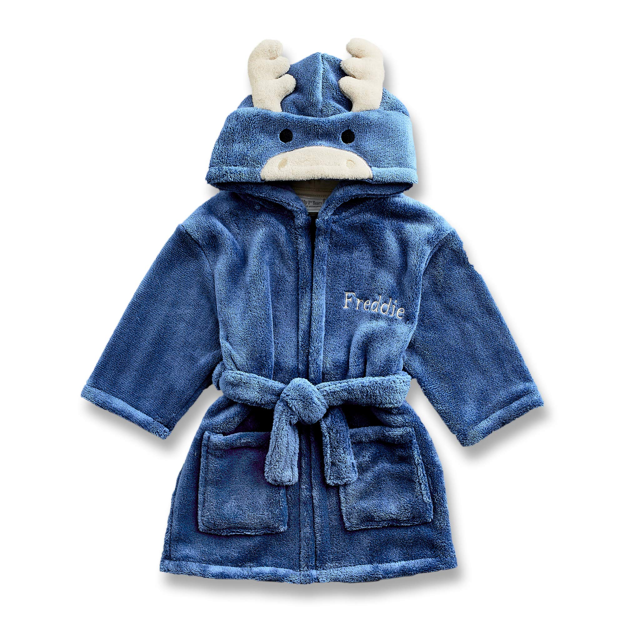 Personalized Bath Robe for Baby & Toddler - Adorable Moose Soft Hooded Animal Bathrobe for Kids - The Perfect Custom Baby Gift for Boys & Girls - Gift Box Included by MY 1ST YEARS MADE WITH LOVE