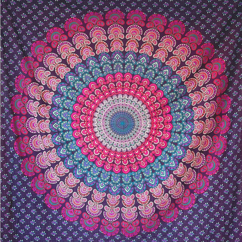 MOMOMUS Tapiz Mandala Hippie - 100% Algodón, Grande, Multiuso - Colcha / Foulard / Tela Ideal como Cubre Sofá o Cubrecamas - Lila, 210x230 cm