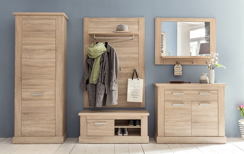 Trendteam 1417–453–45 Porte-manteau Miroir - imitation chêne clair - bois - marron - 100 x 16 x 78 cm