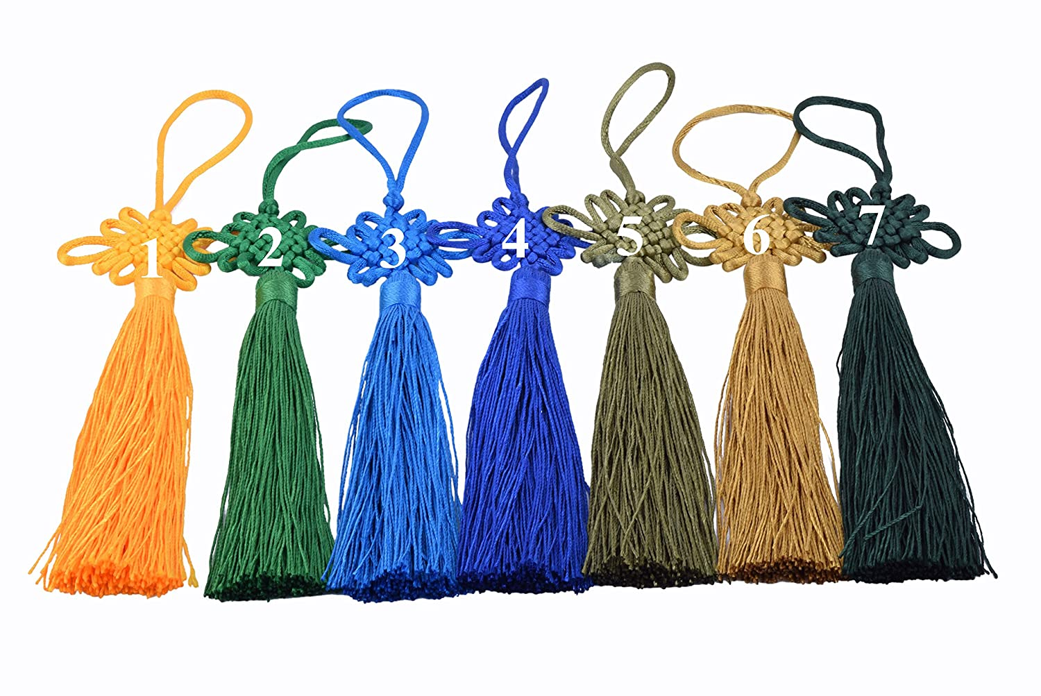 Tassels with Satin Silk Made Chinese Knots 6.4 Red KONMAY 10pcs Red Handmade Silky Large Size