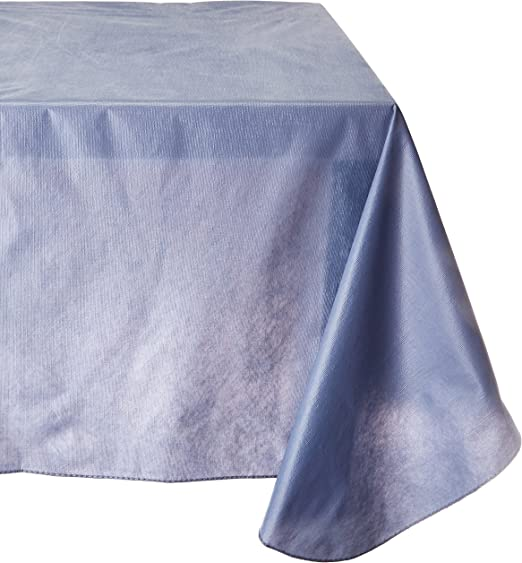 Ivory 70-Inch Round Carnation Home Fashions Vinyl Tablecloth with Polyester Flannel Backing
