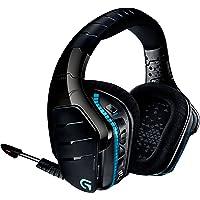Logitech G933 Artemis Spectrum - Auriculares inalámbricos para juegos con micrófono y sonido envolvente 7.1, negro/azul