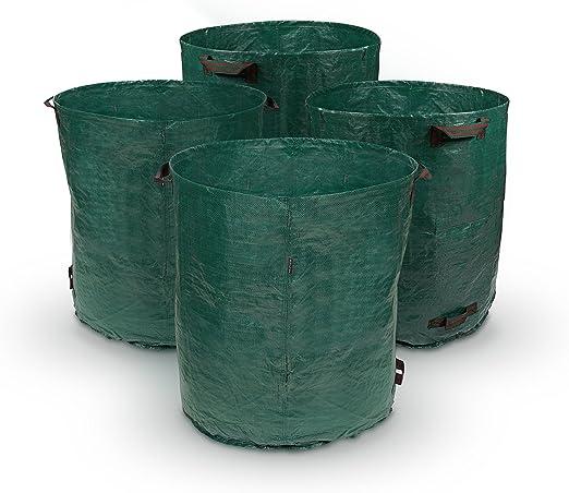 Purovi® 4 x Sacos de Jardín de 280L | para Transportar Desechos del Jardín | 85 cm x Ø 70 cm | Doble Costura con Anillas de Refuerzo | Bolsa de Polipropileno PP: Amazon.es: Jardín