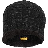 FabSeasons Unisex Acrylic Woolen Skull Cap for Winters with Faux Fur Lining on The Inner Side for Extra Protection from Cold
