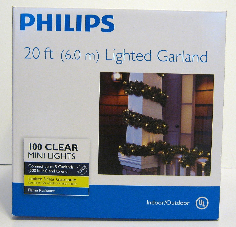 Amazon.com : Philips 20 Ft Lighted Garland 100 Clear Mini Christmas Lights  : Outdoor Lightstrings : Garden U0026 Outdoor
