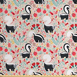 Lunarable Forest Fabric by The Yard, Skunks in Botanical Garden Flourishing Blooms Flowers Spring Foliage Cartoon, Decorative Fabric for Upholstery and Home Accents, 1 Yard, Coral Green