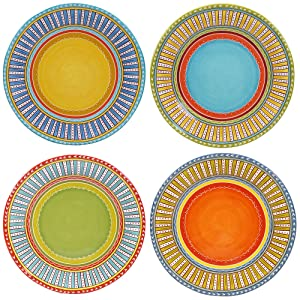 "Certified International Valencia Dinner Plates (Set of 4), 11.25"", Multicolor"