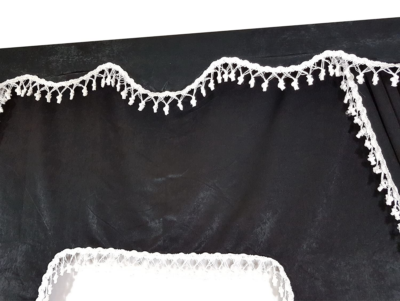D/écoration pour camions Lot de 5/rideaux noirs avec pompons blancs Taille universelle