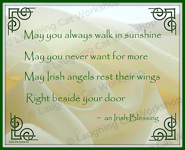 Irish Art God Blessing Angel Print Celtic Gaelic Scottish Wall Decor Home Sweet