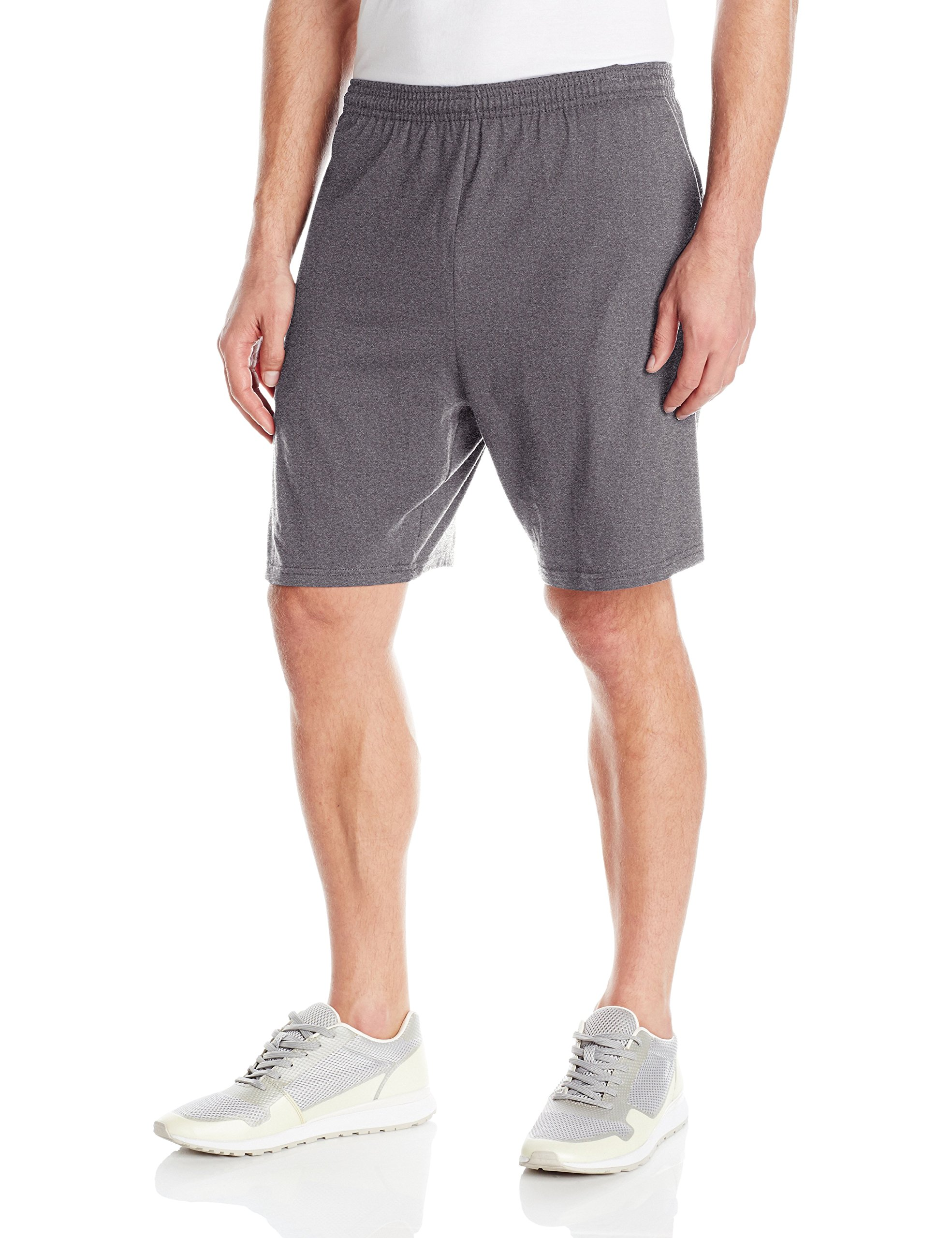 Hanes Men's Jersey Short with Pockets, Charcoal Heather, X-Large