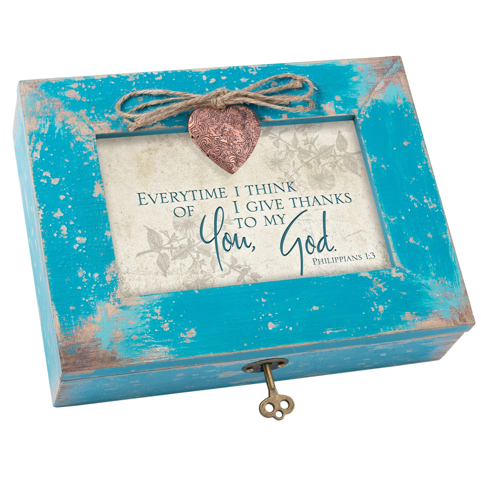 Cottage Garden Give Thanks to God Teal Wood Locket Jewelry Music Box Plays Tune We Have a Friend in Jesus