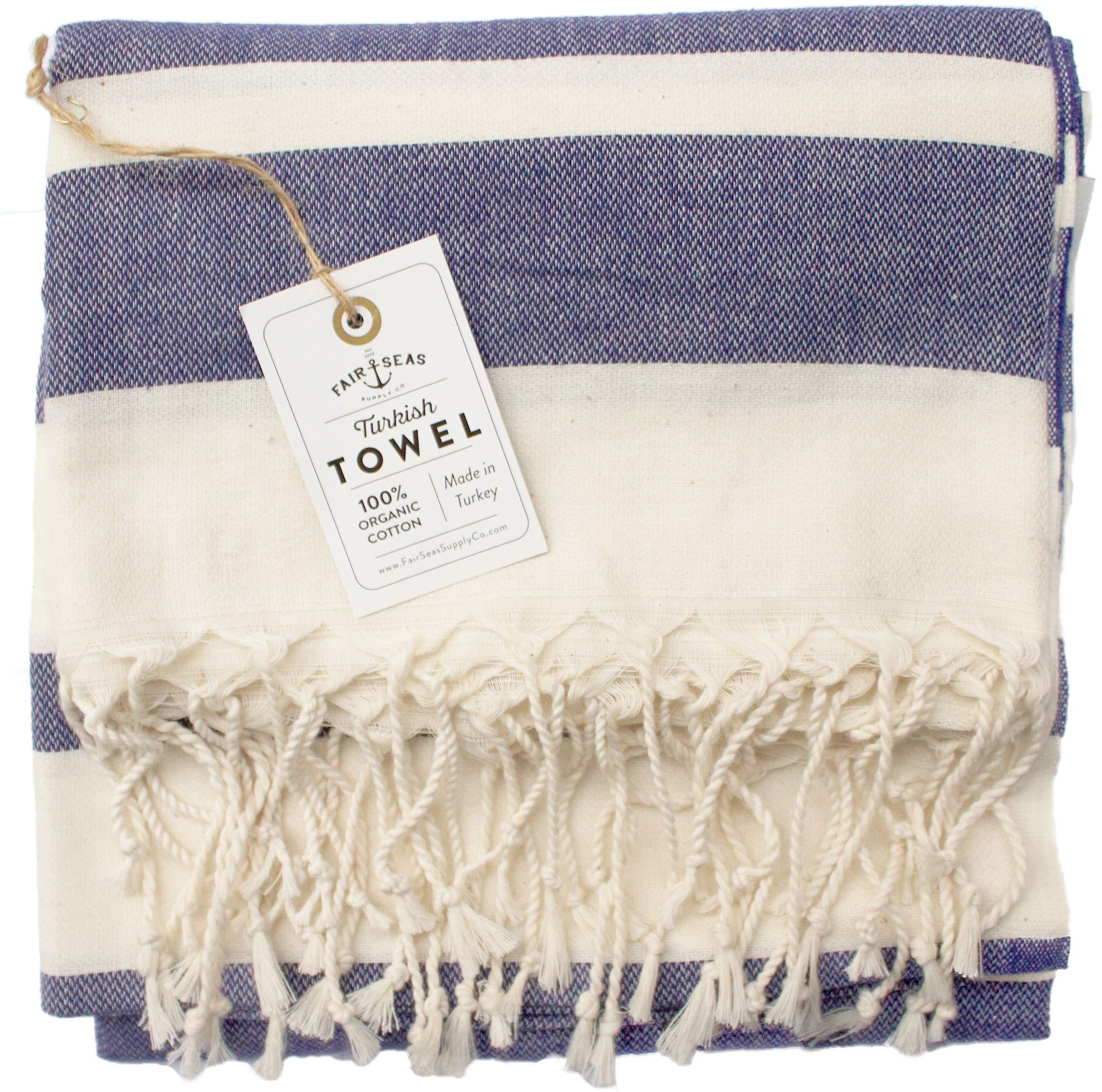 Fair Seas Supply Co. Turkish Towel, Peshtemal Towel - 100% Organic Turkish Cotton - Quick Dry and Lightweight, 39'' x 71'' Large (Indigo Blue)