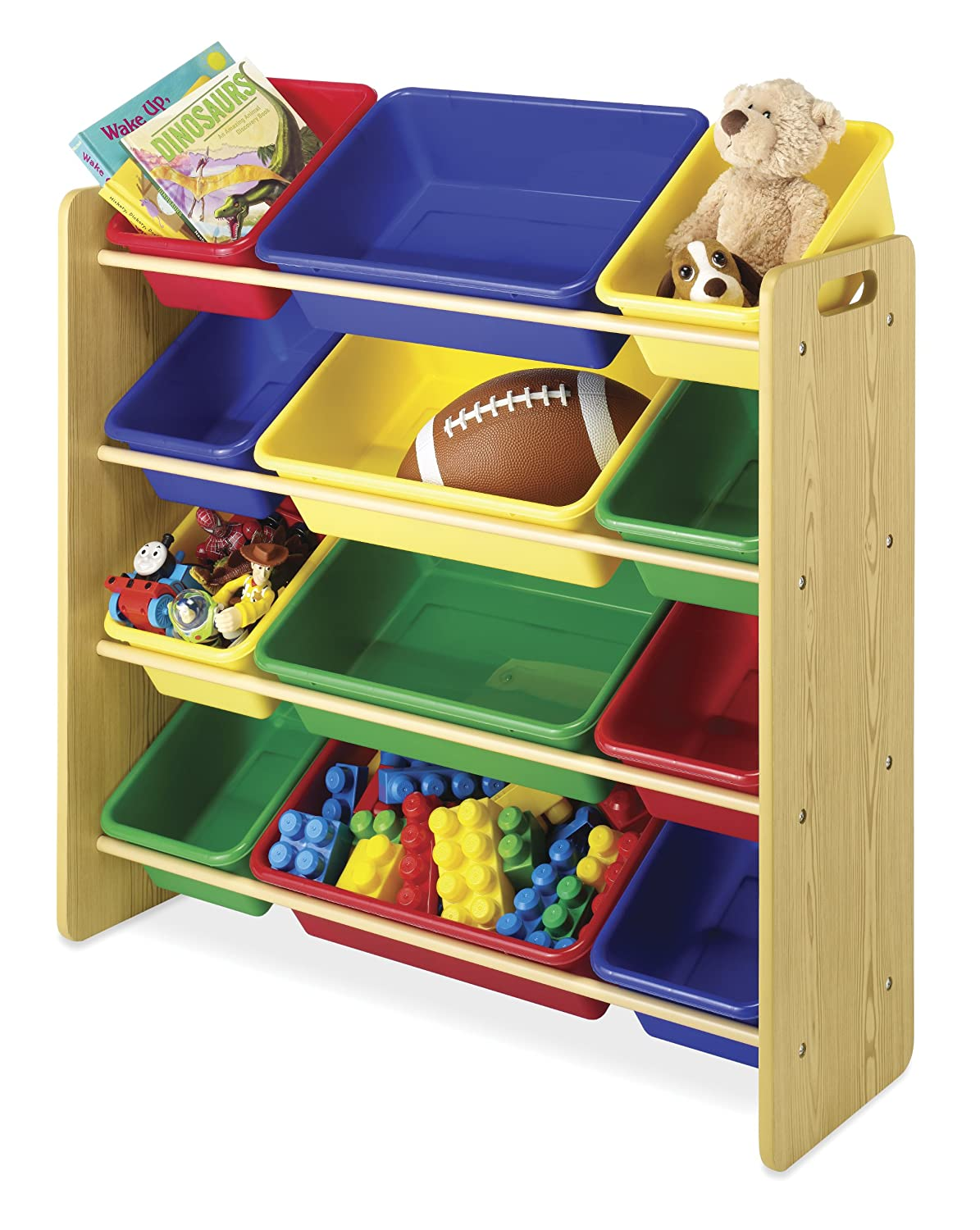 Amazon.com: Whitmor Kidu0027s Toy Storage   12 Easy Clean Bins   4 Tier Toy Rack  And Book Organizer   Primary Colors: Home U0026 Kitchen