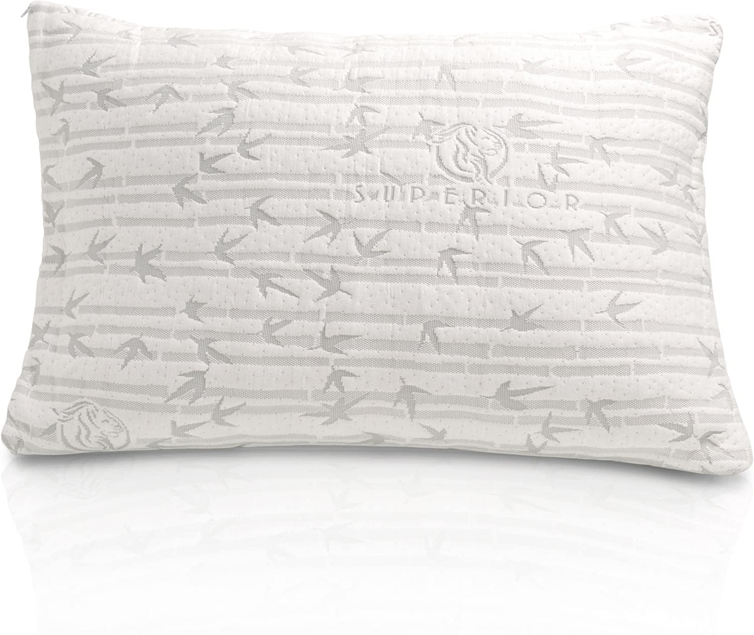 "Superior Shredded Memory Foam Pillow with Adjustable Support for Back, Stomach, and Side Sleepers, Removable Zippered Cover made with Cooling and Breathable Rayon from Bamboo - King Size, 19"" x 36"""