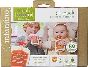 Infantino Squeeze Pouches - Bolsas plegables para bebidas, 50 unidades