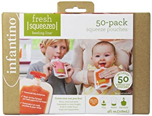 Infantino Disposable Squeeze Pouches - Pack of 50 disposable pouches for portable homemade semi-solid food for babies and toddlers, BPA and PVC free, freezer safe
