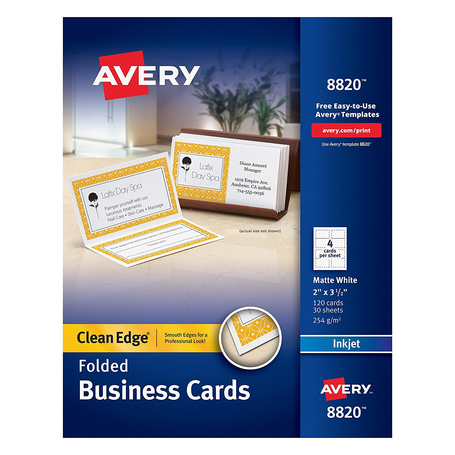 Amazon.com : Avery Folded Two-Side Printable Clean Edge Business ...