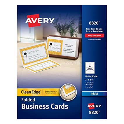 Amazon avery folded two side printable clean edge business avery folded two side printable clean edge business cards for inkjet printers white reheart Choice Image