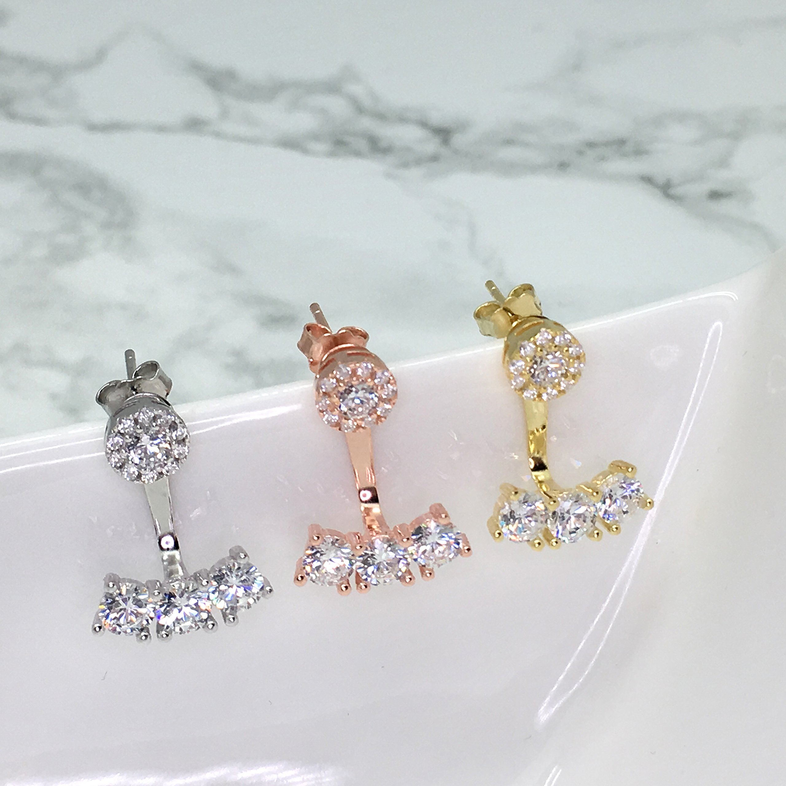 Spoil Cupid Yellow Gold-Plated Sterling Silver Halo Cubic Zirconia Front Back Stud Earrings