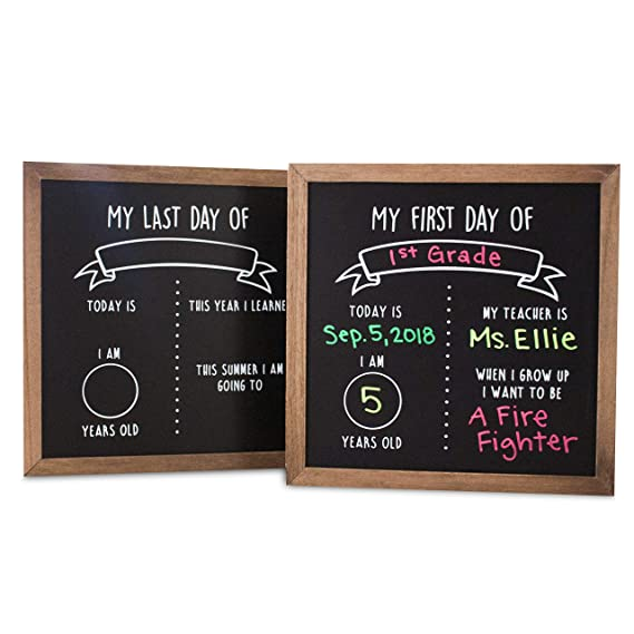 "First And Last Day Of School Reusable Chalkboard Sign | 12"" X 12"" Reversible Wood Framed Chalkboard 