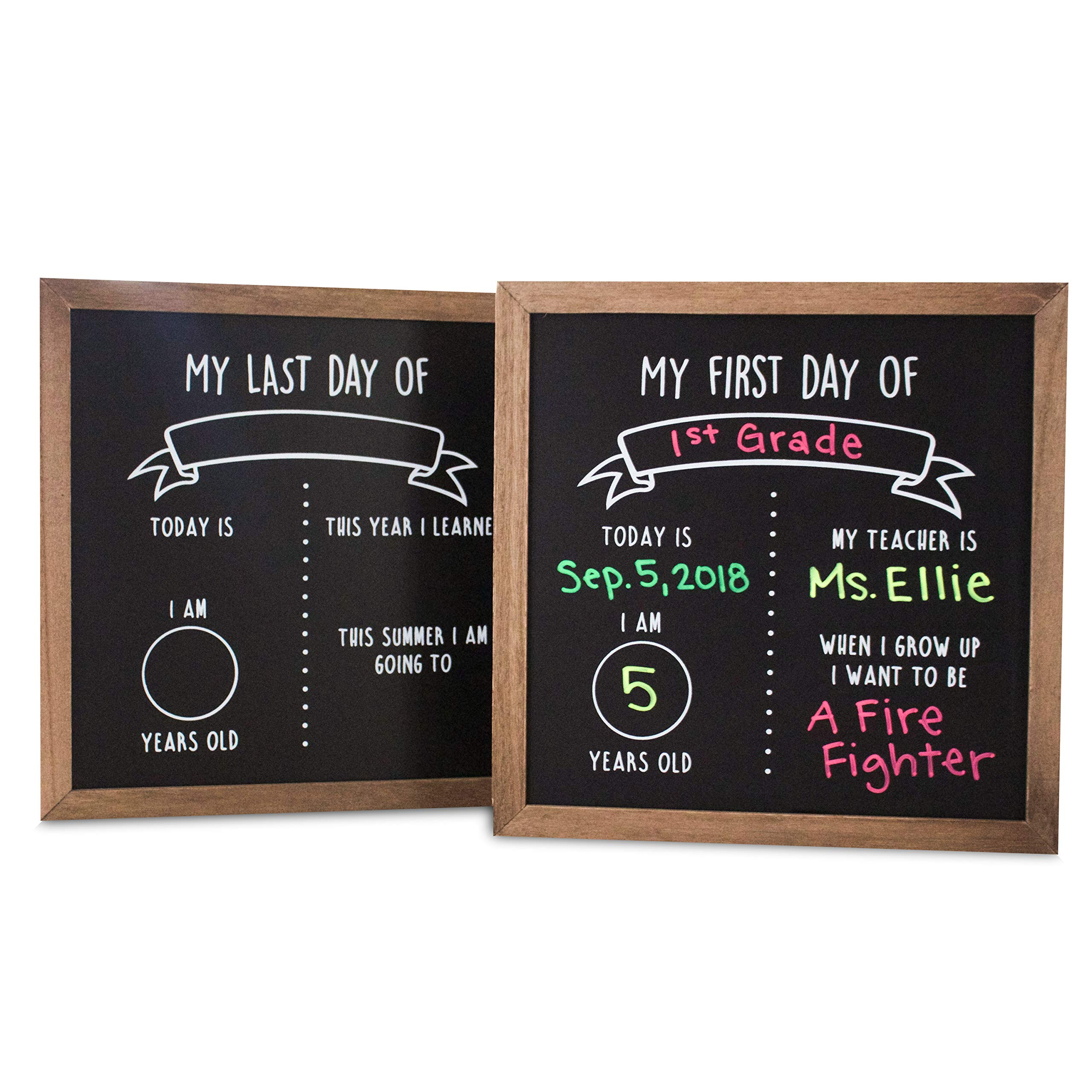 First and Last Day of School Reusable Chalkboard Sign | 12'' x 12'' Reversible Wood Framed Chalkboard | Back to School Photo Prop Board Double Sided