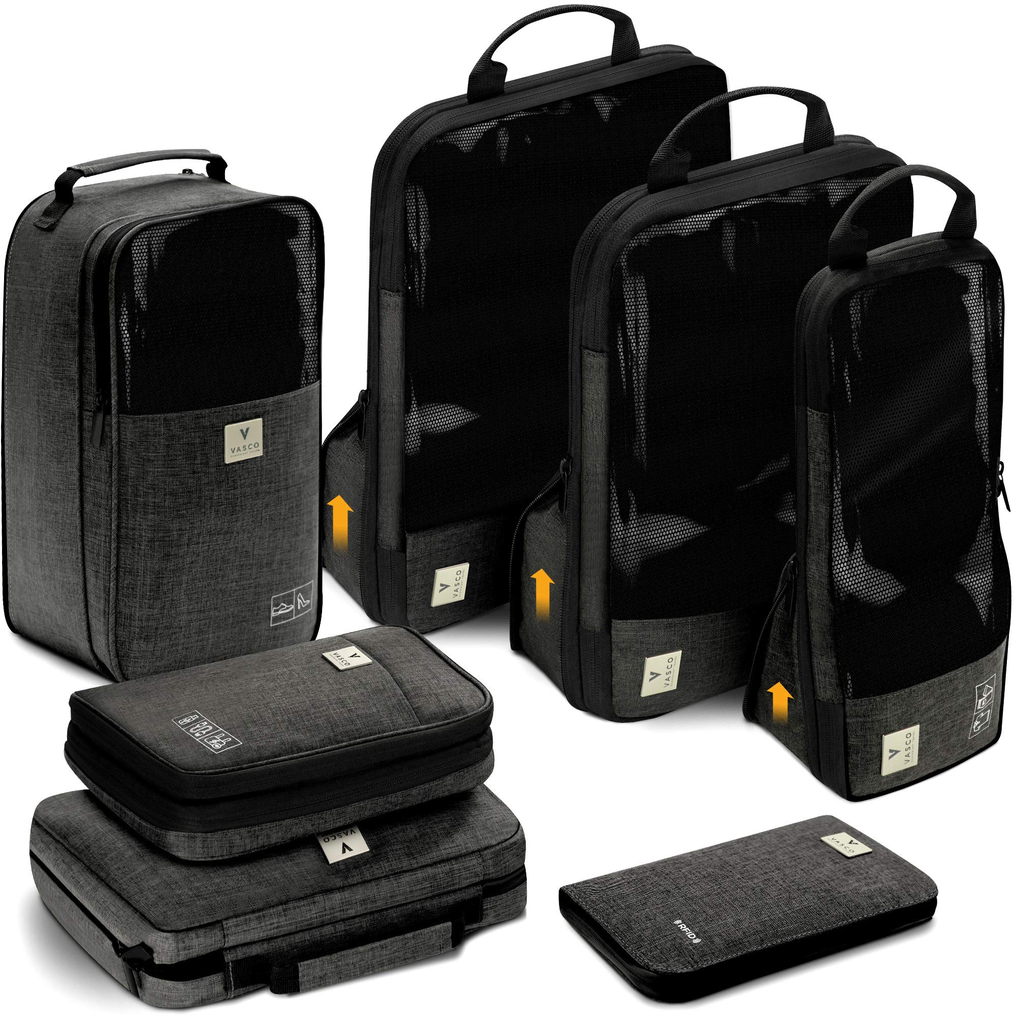 VASCO Travel Packing Cubes Set: Waterproof Travel Packing Organizer Set Of 3 Compression Cubes + Travel Shoes Bag + Hanging Toiletry Bag + Electronics Cube + Travel RFID Wallet  Top Travel Gear Kit