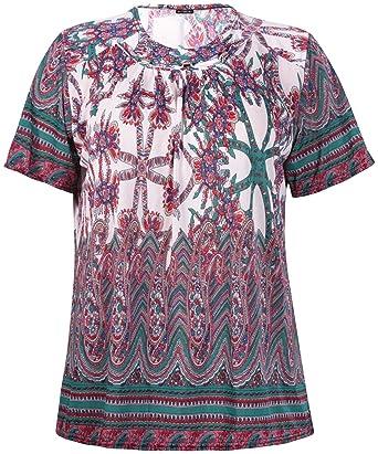 b4b8373577492 Womens Plus Size Paisley Border Print Ladies Short Sleeve Stud Bead T-Shirt  Top Red