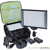 Radiant 280 LED CRI 95+ Bi-Color Dimmable Rechargeable Camcorder Video Camera Light and On-Camera Light Kit