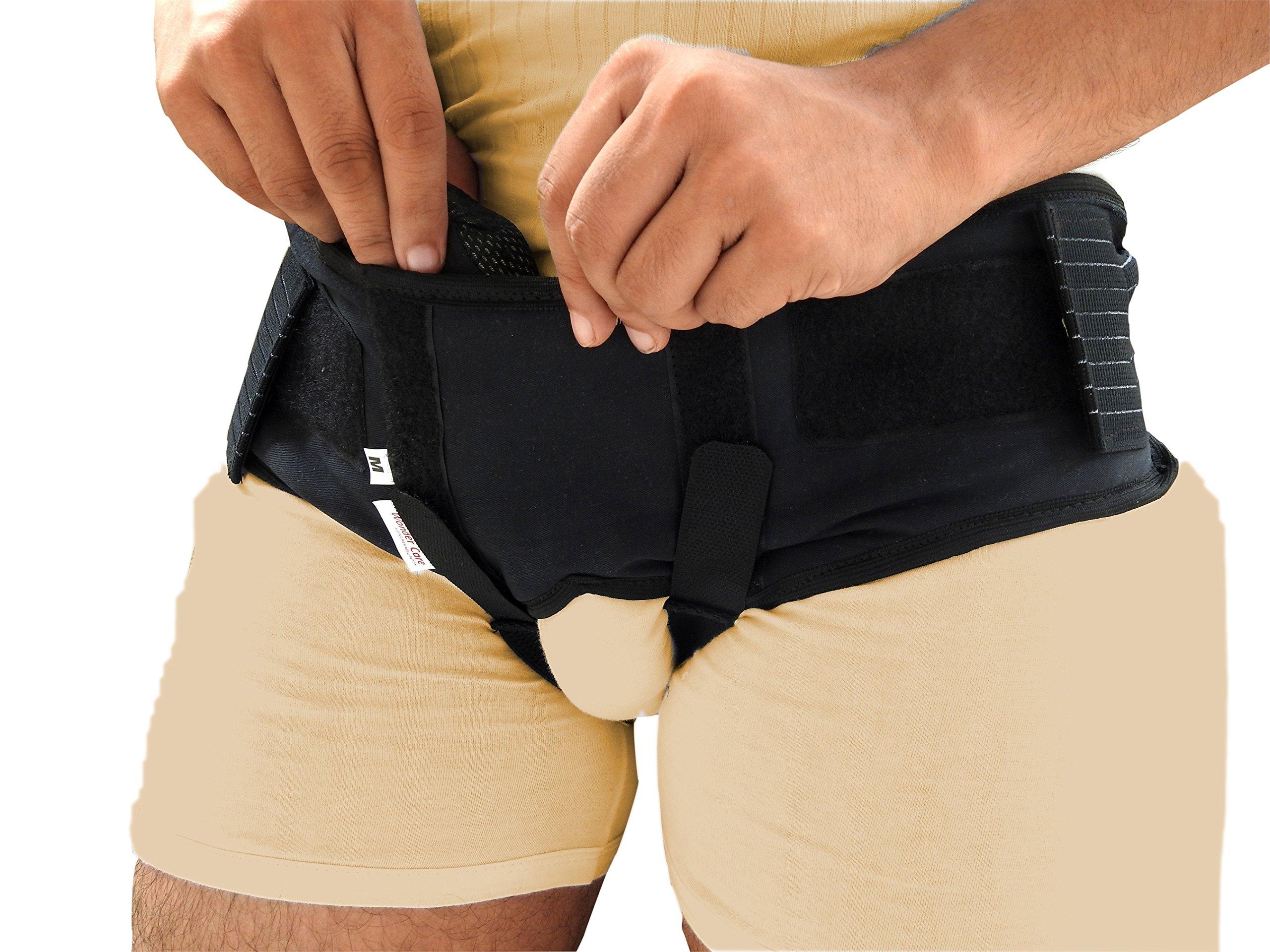 Wonder Care-Black Double Inguinal Hernia Support Belt - Truss Brace-Xtra Large