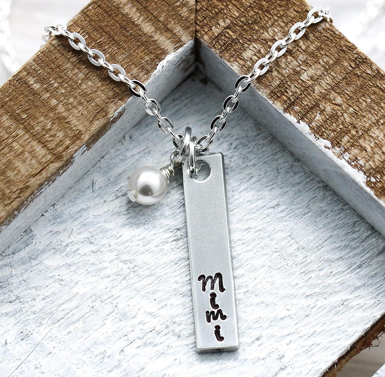 Gift for Her Personalized Mimi Birthstone Charm Bangle Bracelet,Custom Mimi Jewelry Mothers Day Jewelry