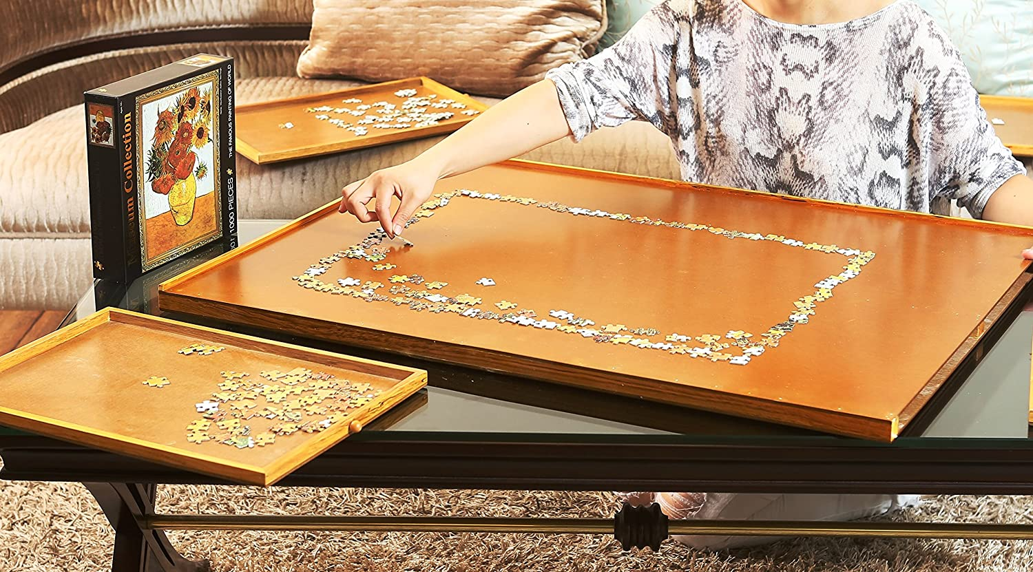 Jigsaw Puzzle Storage Drawers Table 1000 Pcs Adult Wooden Carry Portable  SP: Amazon.co.uk: Toys U0026 Games