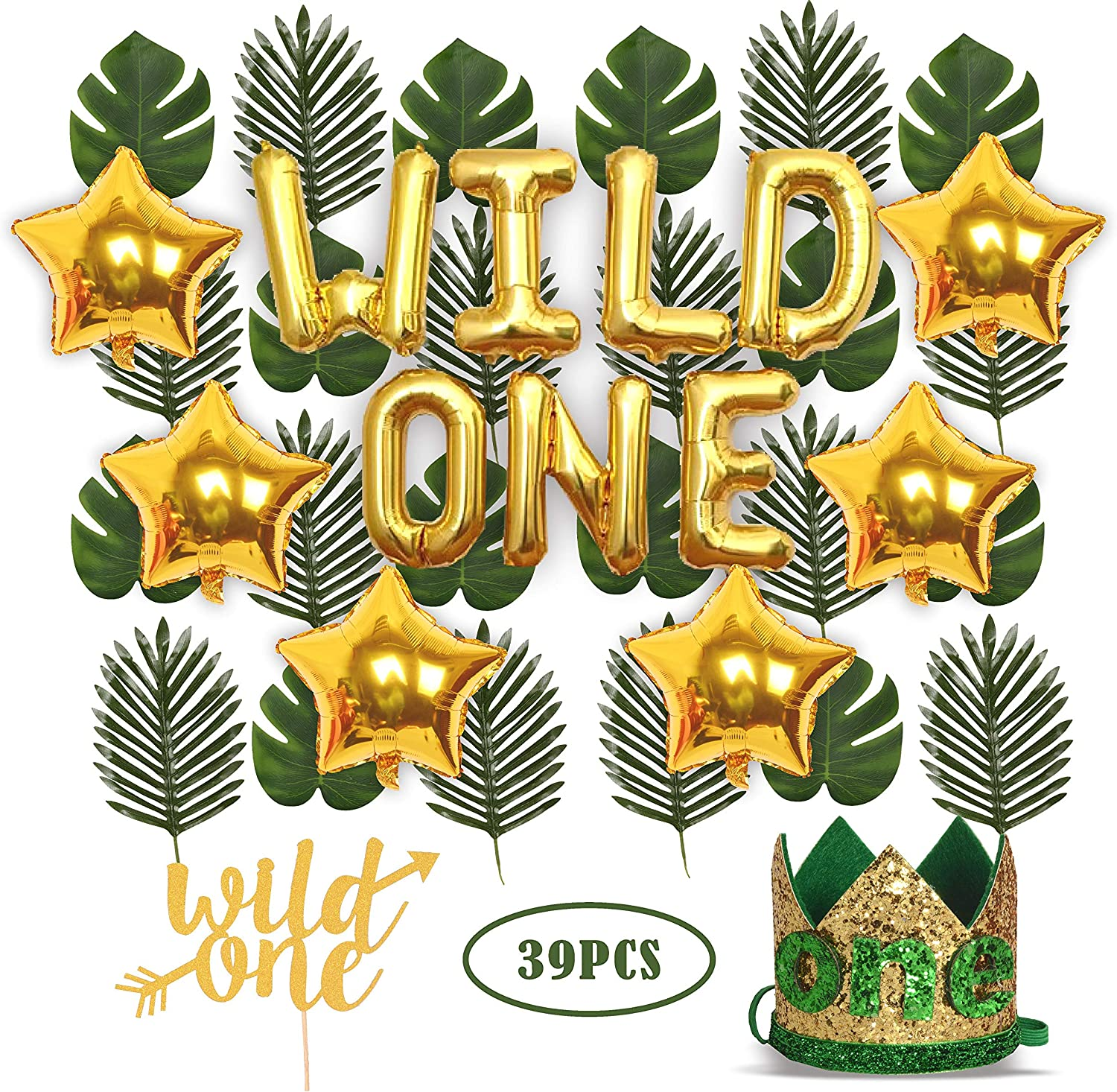 "Wild One Birthday Decorations | 1st Baby Girl/Boy Birthday Party Hat Green Crown with Green Hair Band | 24 PCS Artificial Palm Leaves | 16"" 'Wild One' Balloon 