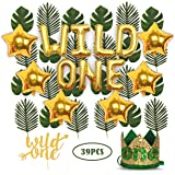 Wild One Birthday Decorations | 1st Baby Girl/Boy Birthday Party Hat Green Crown with Green Hair Band | 24 PCS…