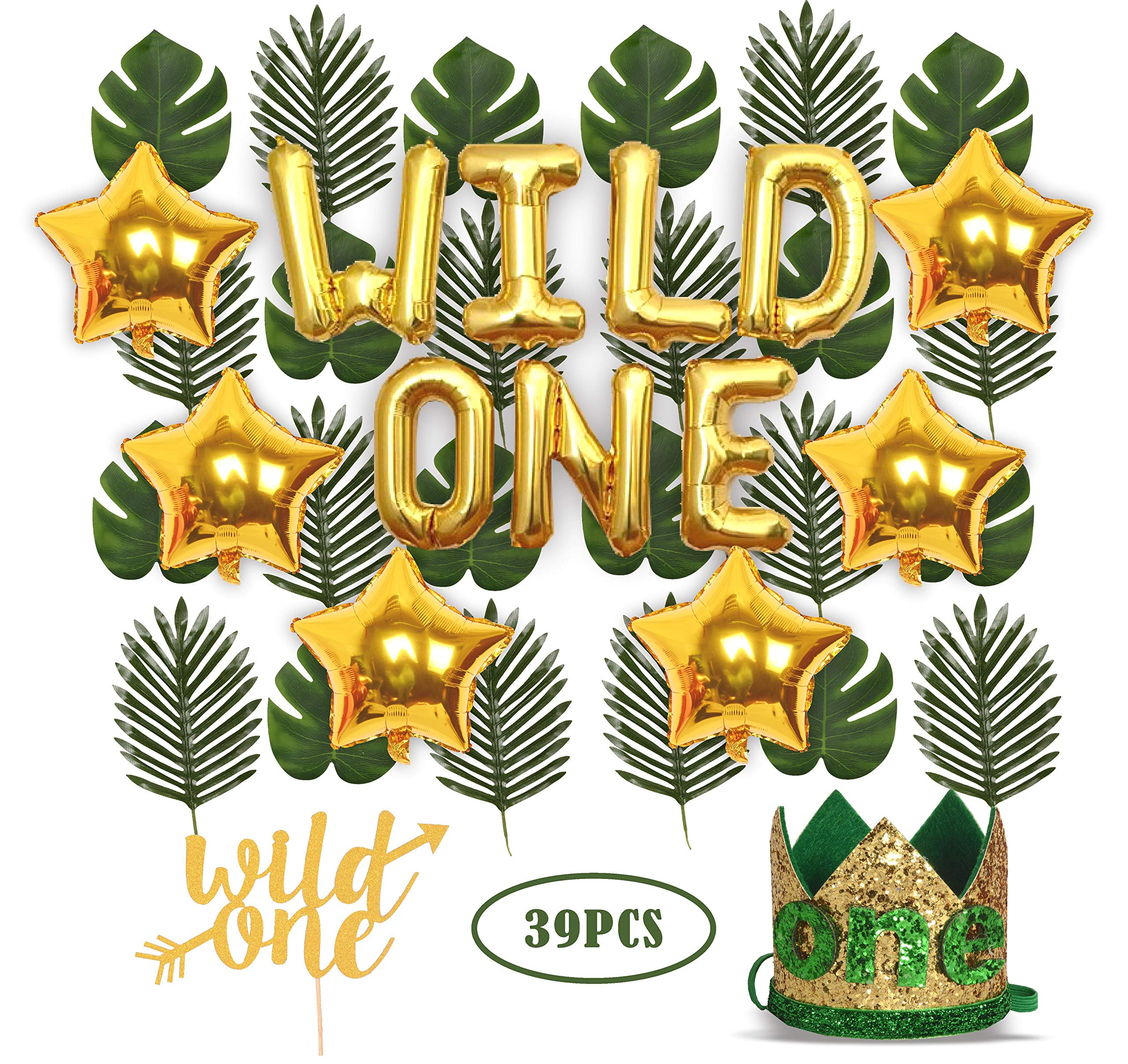 Wild One Birthday Decorations | 1st Baby Girl/Boy Birthday Party Hat Green Crown with Green Hair Band | 24 PCS Artificial Palm Leaves | 16'' 'Wild One' Balloon | 6 pcs Star Balloon | Wild One Cake Topp by MEANT2TOBE
