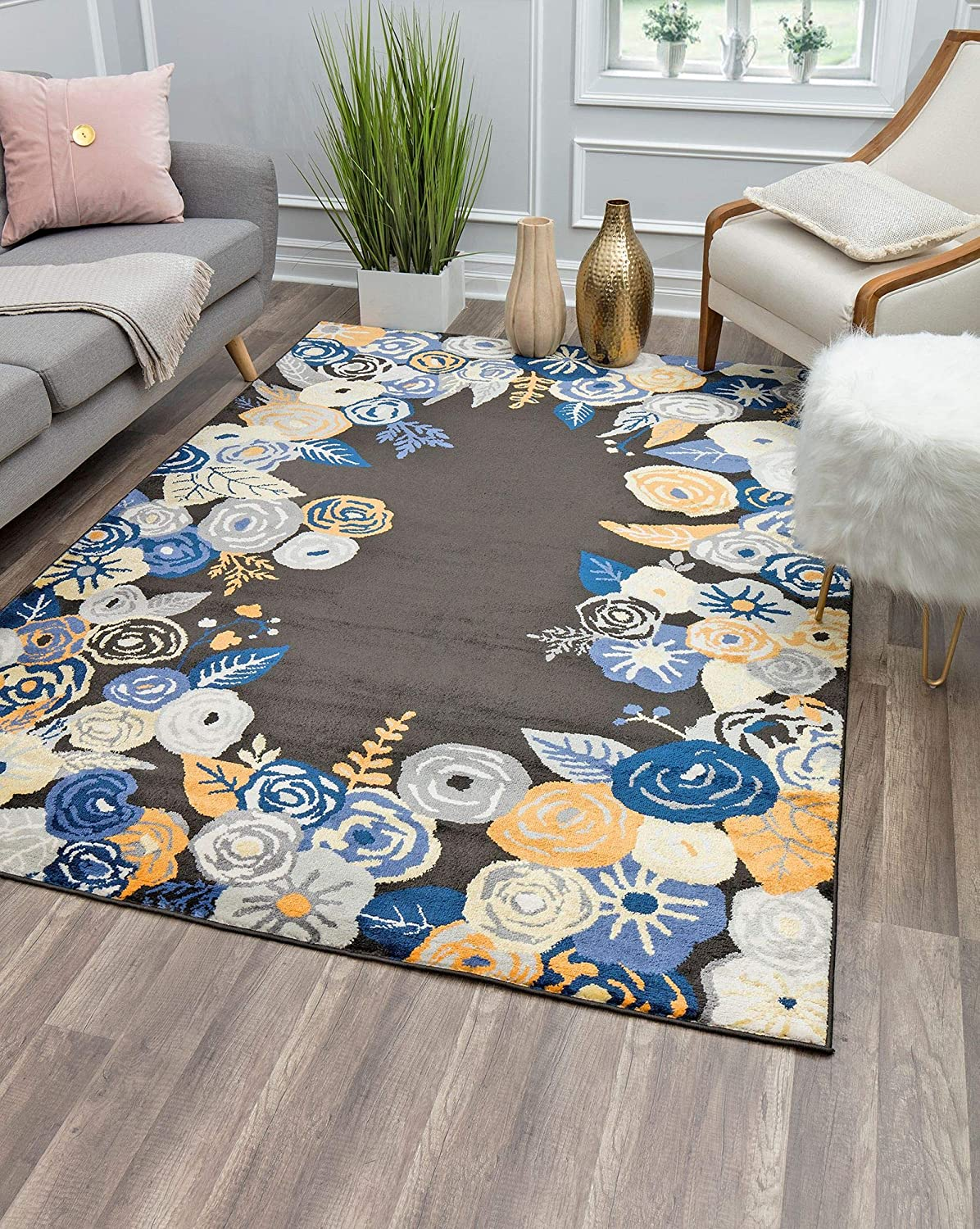 Rugs America VA35A Royal Blossom Golden Onyx Transitional Floral Area Rug 9' x 12'
