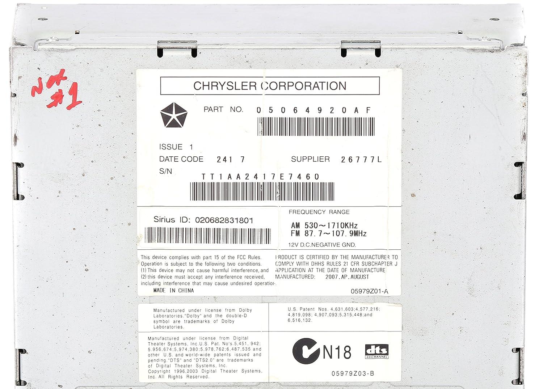 Amazon 2008 2010 chrysler dodge jeep am fm xm radio 6 disc cd amazon 2008 2010 chrysler dodge jeep am fm xm radio 6 disc cd dvd w aux 05064920af req automotive biocorpaavc