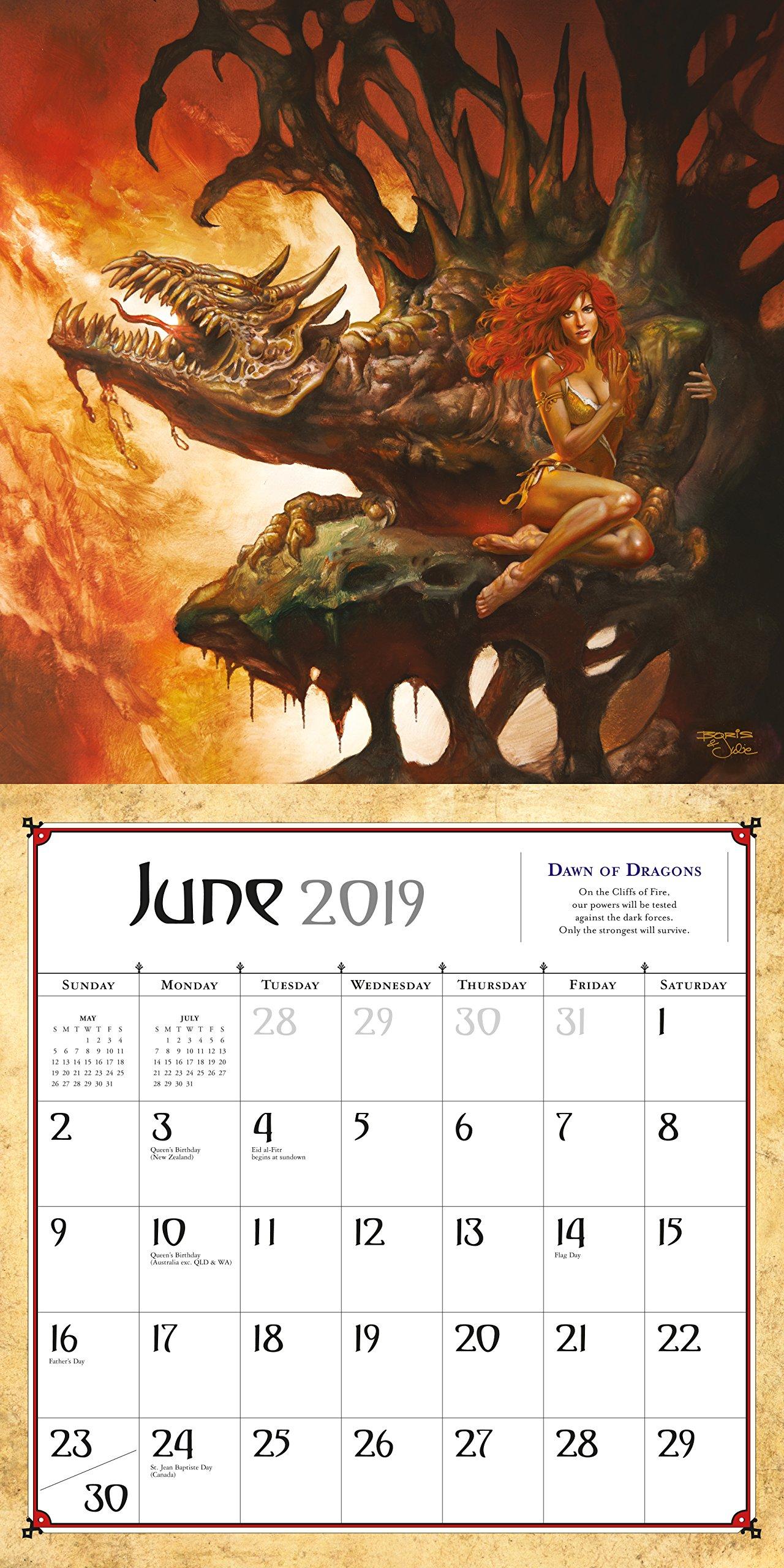 Boris Vallejo & Julie Bell's Fantasy Wall Calendar 2019 by Workman Publishing (Image #5)