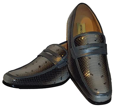 6494 Mens Grey Faux Snake Embossed Dressy Slip On Loafers